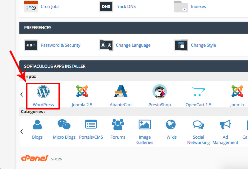 Cpanel WordPress icon